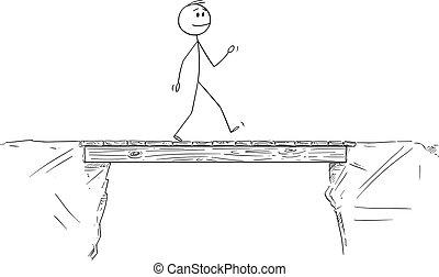 Vector Cartoon Illustration of Man or Businessman Walking and Crossing the Bridge