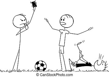 Vector Cartoon Illustration of Serious Football or Soccer Referee Showing Red Card to Player