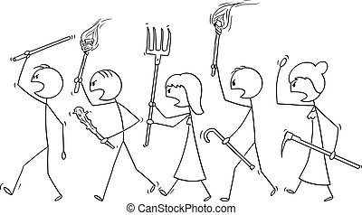 Vector Cartoon of Angry Mob Stick Characters Walking with Tools as Weapons and Empty Speech Bubble