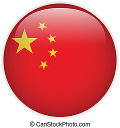 Vector - China Flag Glossy Button