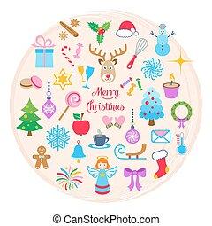 Vector christmas card with christmas icons