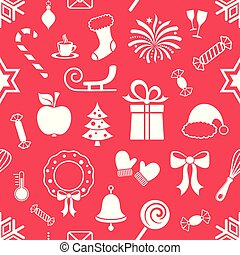 Vector christmas endless pattern with simple icons