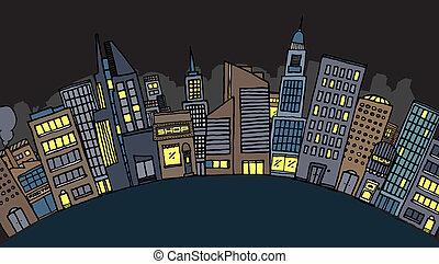 Vector city at night