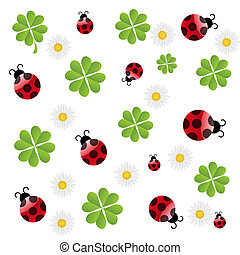 vector clover leaf with ladybird seamless pattern