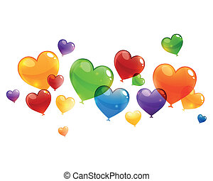 Vector Colorful Flying Heart Balloons
