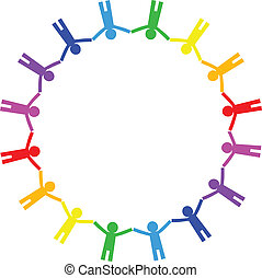 Vector colorful icon of people in c