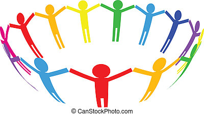 Vector colorful icon - people in ci