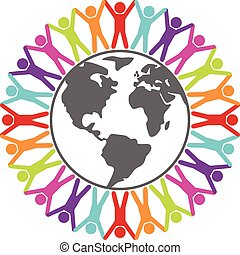 vector colorful illustration of people around the world, peace or travel concept