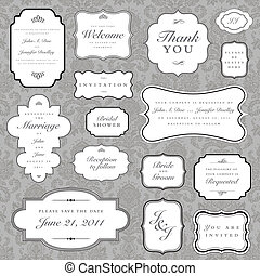 ornate vector frames and ornaments with sample text. Perfect as invitation or announcements
