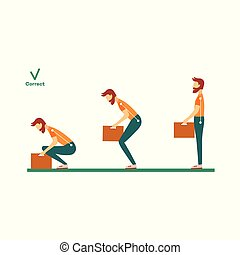 vector correct spine man lifting weight