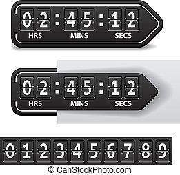 vector countdown black mechanical timer
