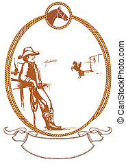 Vector cowboy poster background for design with rope frame