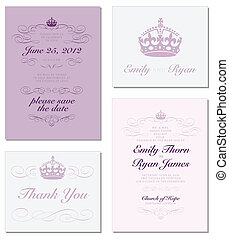 Vector Crown and Ornament Frame Set. Easy to edit. Perfect for invitations or announcements.