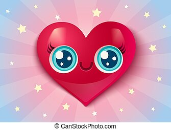 Cute heart in kawaii style for Valentine's day.