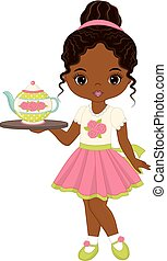 Vector cute little African American girl with tea pot and tray. Vector tea party. Little African American girl vector illustration