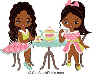 Vector cute little African American girls having tea party. Vector tea party. Little African American girls vector illustration