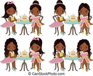 Vector cute little African American girls having tea. Vector little girls with various hairstyles. Vector tea party. Little African American girls vector illustration