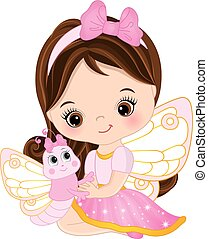 Vector Cute Little Fairy with Butterfly
