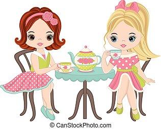 Vector cute little girls having tea party. Vector tea party. Little girls vector illustration