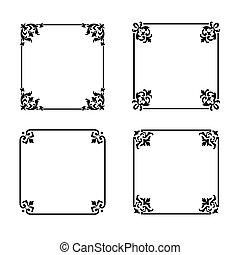 Vector decorative square ornate design elements & calligraphic page decorations