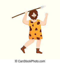 Vector design of man and caveman logo. Set of man and hunter vector icon for stock.