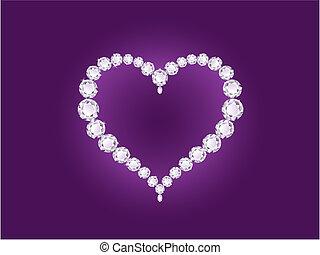 Vector shiny diamond heart on violet background