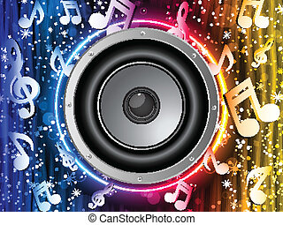 Disco Speaker with Music Notes in Neon Rainbow Circle