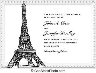 Vector Eiffel Tower Wedding Invitation