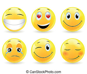 Vector Illustration of Emoticons with Various Facial Expressions