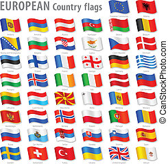 Vector Collection of all European National Flags, in simulated 3D waving position, with names and grey shadow. Every Flag is isolated on its own layer with proper naming.