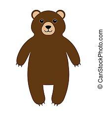 Vector flat cartoon brown grizzly bear