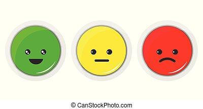 Vector flat design illustration of smiley icon set.