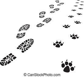 vector foot prints of man and dog