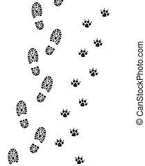 foot prints of man and dog