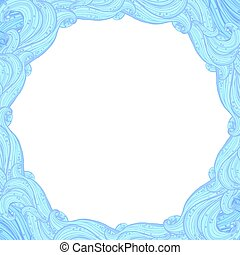 Vector frame with a round middle of blue border elements of waves