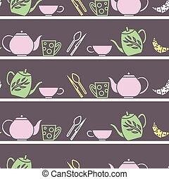 Vector Garden Tea Party seamless pattern background