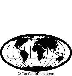 Illustrated globe of earth, easy to change colors and edit to any size.