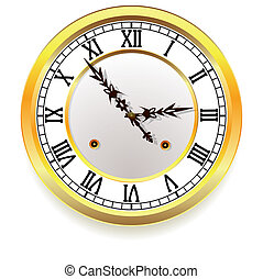 vector golden clock. retro style