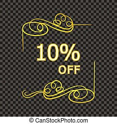 Vector Golden Filigree Frame with 10 Percent Off Sign, Sale Tag, Calligraphic Shining Design Element.