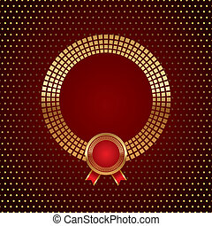 Vector golden round frame with badge