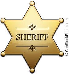 Vector Golden Sheriff Star over white background
