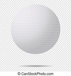 Vector Golf Ball with Shadow With Classic Design Isolated On Transparent Background. Vector Illustration.