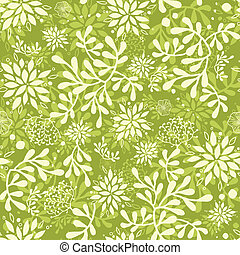 Vector Green underwater plants seamless pattern background with hand drawn elements