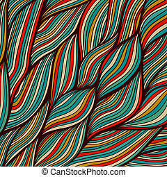 Vector hand-drawn waves texture, wavy background. Backdrop template design. Looks like leaf, water waves, hairs. Colorful abstract sea composition. Maritime. Tangled design.