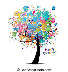 Vector Illustration of a Happy Birthday Greeting Card