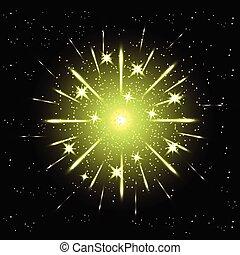 Vector holiday green firework