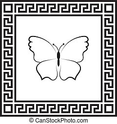 Vector icon butterfly in a frame with a Greek ornament