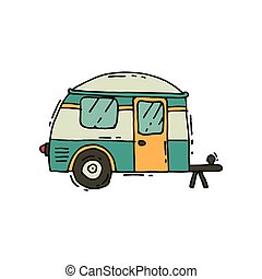 Vector icon of camping trailer in doodle style. Road trip. Mobile home on wheels. Tourism and journey theme