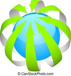 green arrows around the world