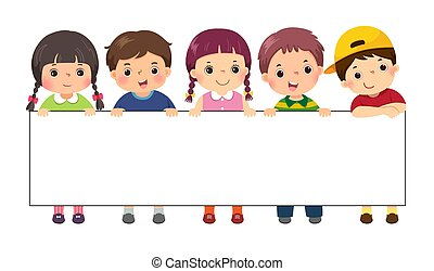 Vector illustration cartoon of kids standing behind blank sign banner. Template for advertising.